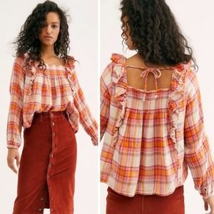 Free People Sienna Plaid Pullover Blouse Small